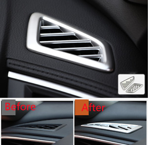2x ABS Silver Interior Front Upper Air Vent Cover Trim For Honda Civic 2016-2021