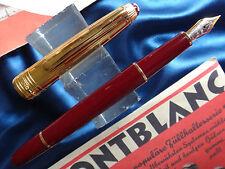 Montblanc Solitaire Bordeux & Gold Fountain Pen  Fine Pt In Box Mint 144Dv  *