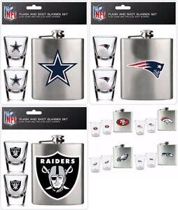 NFL Flask & Shot Glass Set, 2 Glasses Brushed Stainless Steel Choose Team