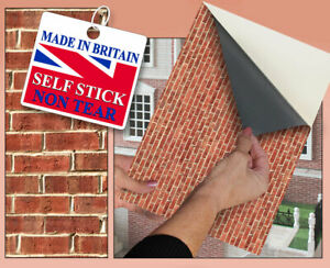 Self Adhesive Dolls House Wallpaper | Brick Wall | 1/12th Scale Vinyl Sheet