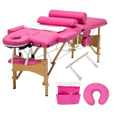 "84""L 3 Fold Portable Massage Facial Spa Bed 2 Pillows&Cradle&Sh eet&Hanger"