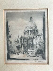 Signed A J Meyer etching of St. Paul's Cathedral, London; framed; to restore.