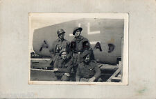 WW2 Soldier group beside German plane 2x wearing Jerkins 1x wears airborne smock
