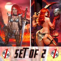 🚨🔥🗡 RED SONJA #1 SET OF 2 JOSH BURNS & MATT DALTON Virgin Variants Ltd 500