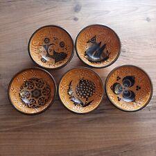 Turkish Brown Ceramic Decorative Handmade Bowl Cup 5 Pairs