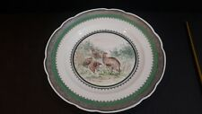 """Mitterteich Hand Painted Porcelain Plate QUAIL Silver Overlay Edges 12 5/8"""""""