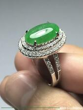 Cabochon Emerald Green Jadeite Jade 18K White Gold Diamond Ring 32.37ct Sz:7.25