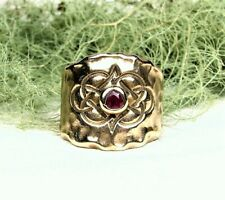 Knot Imprint Red Ruby Stone Organic Golden Bronze Ring Ethernal Love