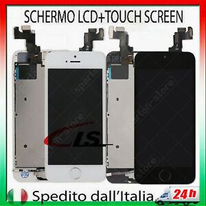 DISPLAY PER IPHONE 5S LCD ASSEMBLATO COMPLETO TOUCH SCREEN VETRO SCHERMO+BUTTON