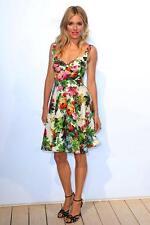 New DOLCE & GABBANA Floral Strawberry Butterfly Roses Poplin Full Skirt Dress 40