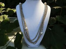 """Vintage 2 strand 54"""" Gold Necklace with Pearls"""