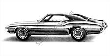 Beautiful 1968 (68) Buick Riviera signed 11 x 17 drawing/picture/print