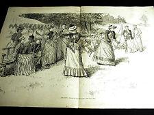 Reinhart ARCHERY Victorian Women Aiming Bow and Arrow 1891 Large Folio Print