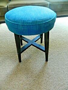 VINTAGE RETRO STOOL PADDED BLUE 50's 60's DESIGN SEAT