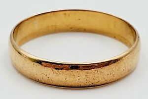 22K Solid Yellow Gold Marked 3.9mm Wide Wedding Band Stacking Ring Size 6.5 2.6g