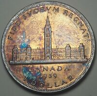 1939 CANADA 1 ONE DOLLAR SILVER UNC MONSTER CHOICE COLOR BU TONED GEM (DR)