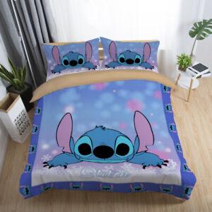 Bedding Set 3D Disney Stitch Kids Duvet Cover Pillowcase Comforter Quilt Cover