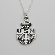 UNITED STATES NAVY CHARM NECKLACE - Silver US Navy Anchor Veteran Soldiers Eagle