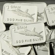 """F-35 Fighter"" Design. Lot of 10, 1 gram .999 Fine silver bullion bar. NEW!"
