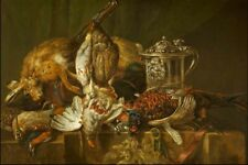 "oil painting on canvas ""Still Life with Dead Game and a Silver Tankard ""@N14224"