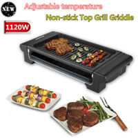 Electric Non Stick Table Top Grill Griddle BBQ Indoor Barbecue Plate Smokeless