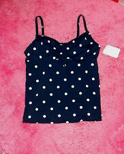 DK BLUE POLKA DOT LANDS END TANKINI SWIMSUIT SWIM SUIT TOP SIZE 6 6P SMALL NWT