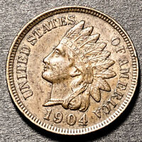 1904 indian head Cent 1c High Grade Type Coin AU 4 Diamonds Nice Color