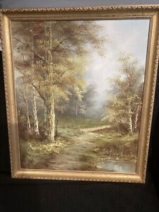 Oil Painting Forest Scene By C. Inness