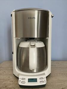 Rare White Krups FMF5 - 10 Cups Coffee Maker With Thermal Carafe White Silver