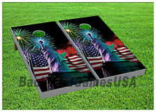 Statue of Liberty Patriotic Usa Cornhole Boards Beanbag Toss Game w Bags
