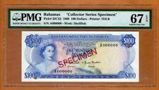Specimen, Bahamas, 100 dollars, 1968, P-33CS2, PMG-67 QEII, Superb Gem UNC