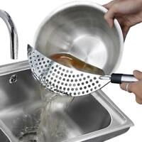 Practical Stainless Steel Whale Pot Water Strainer Hand Held Kitchen Drainer W