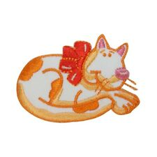 ID 3031 Cartoon Cat Curled Up Patch Kitten Kitty Embroidered Iron On Applique