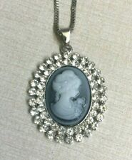 """Betsy Johnson Crystal Cameo Silver Pendant on a 28"""" Long Silver Necklace New!"""