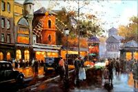 Quality Hand Painted Oil Painting, Moulin Rouge – Place Pigalle Paris,  24x36in