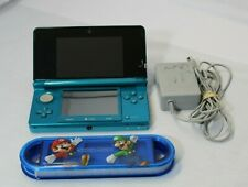 NINTENDO 3DS CTR-001 CONSOLE AQUA BLUE WORKING W CHARGER -Game carry case..