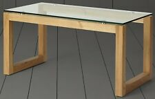 NEW Tesco Stanbury Glass Top Coffee Table (Solid Oak)