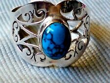 STERLING SILVER FILIGREE RING with an OVAL TURQUOISE STONE UK. size S £16.95nwt