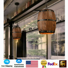 Industrial Bar Cafe Lights Wood Wine Barrel Hanging Fixture Ceiling Pendant Lamp