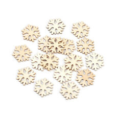 100pcs Unfinished Wood Christmas Snowflake Cabochons Flat Back Stickers 26x29mm