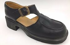 Vintage Dr Doc Martens Black Leather T-Strap Mary Janes size US 9.5 England A3