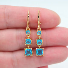 18K Yellow Gold Filled Lake Blue Topaz Fashion Square Blocks Dangle Earrings