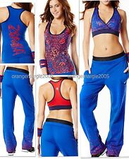 ZUMBA 3Pc.Set! Jammin' HipHop Pants,Rockin' VBra + Racerback Top-BE THAT IT GIRL