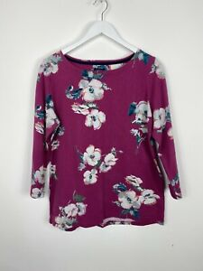 Joules Top UK 14 Pink Poppy Harbour Jersey Floral 3/4 Sleeve Smart Pretty Spring