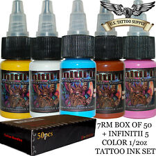 7 Round Magnum Tattoo Needles + Infinitii Tattoo Ink 5 Color 1/2oz Ink Set