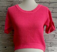 Poof Excellence Womens Sz Small Pink Knit Sweater Short Sleeve