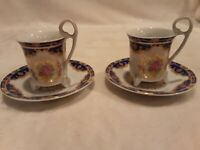 GNA Vintage Floral Porcelain Demitasse 2 Cups/saucers Set Footed With Gold Trim