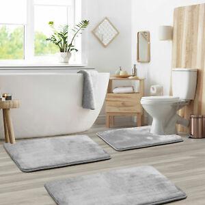 Memory Foam 3 PC Absorbent Bath Bathroom Rug Mat Set Small Large and Contour Rug