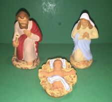 "Vintage French Santons Nativity signed ""Fouque"" Mary, Joseph & Baby Jesus"