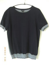 Jaeger S/S 100% Cotton Knitted Top True Navy & White Stripes Large UK 16 New